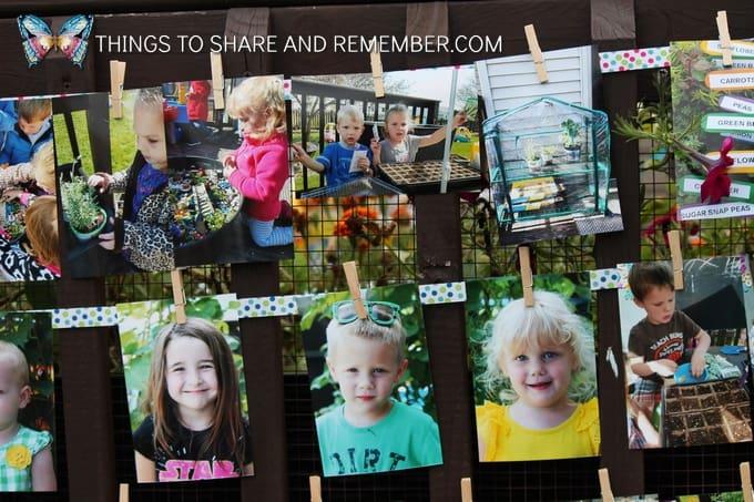 photos clipped on ribbon display