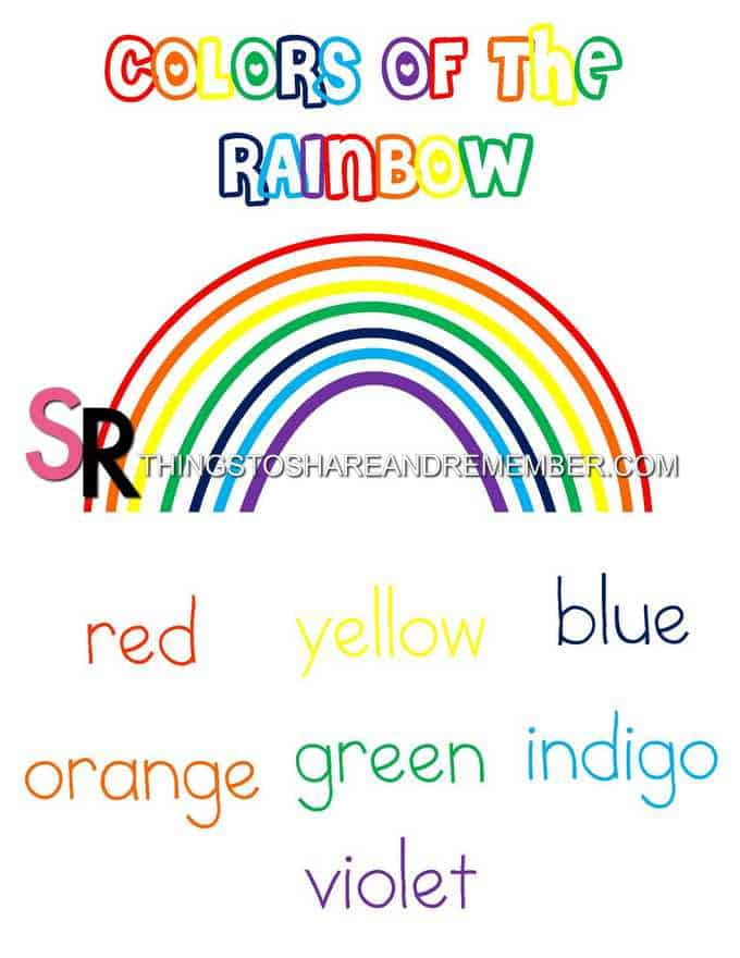 Colors of the Rainbow Printable