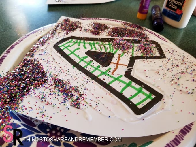 letter A with glitter