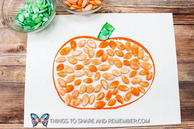 Dyed Pumpkin Seed Fall Art