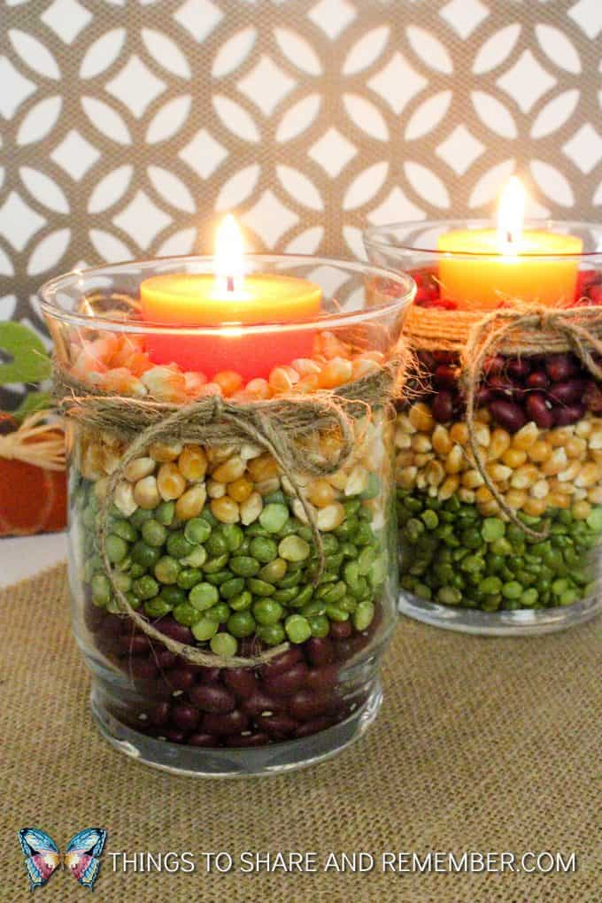 Fall Harvest Candles Thanksgiving centerpiece