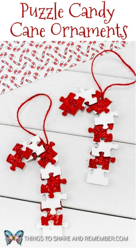 Puzzle Candy Cane Ornaments