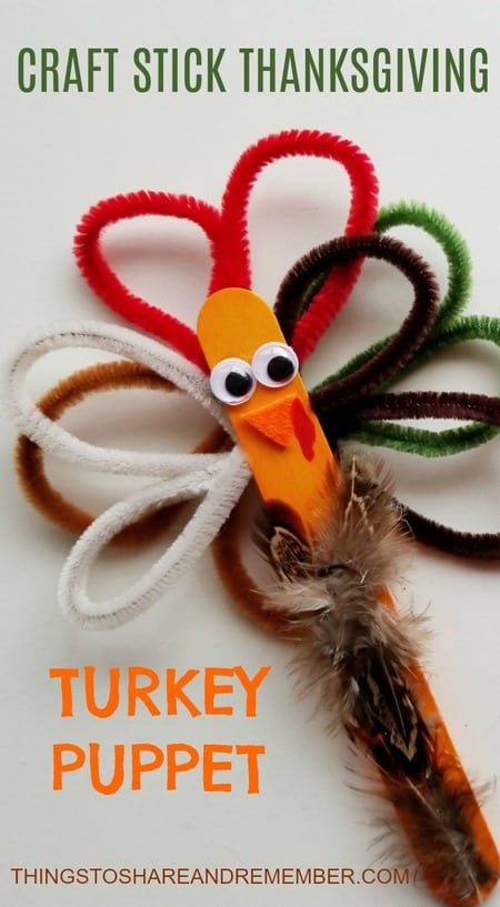 Share & Remember Blog - Craft Stick Thanksgiving Turkey Puppet Preschool Craft