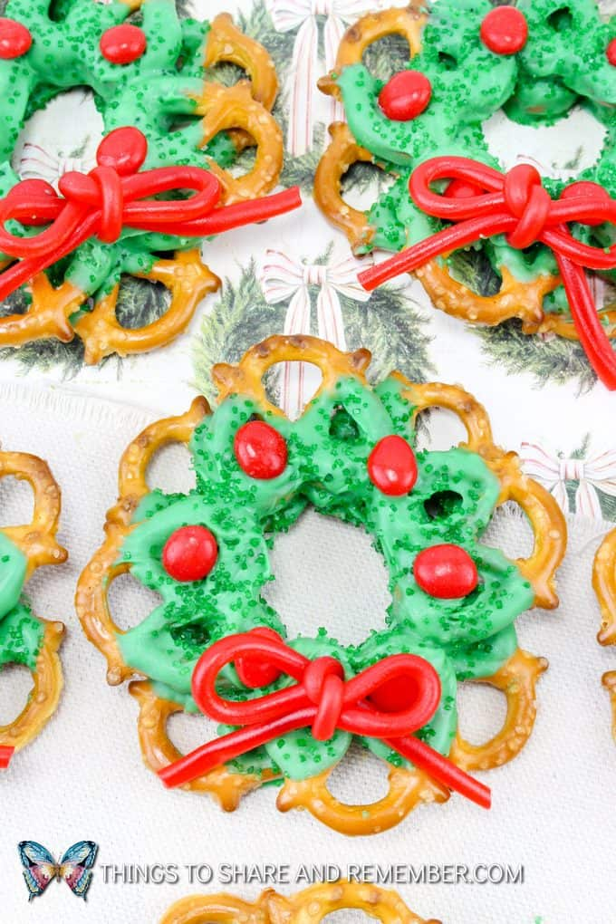 Chocolate Pretzel Christmas Wreaths