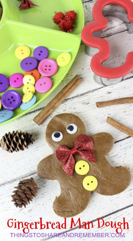 Gingerbread Man Dough - preschool invitation to play sensory activity for the holidays