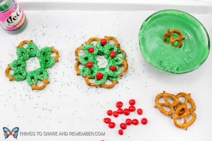 Chocolate Pretzel Christmas Wreaths in process