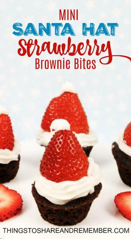Mini Strawberry Santa Hat Brownie Bites