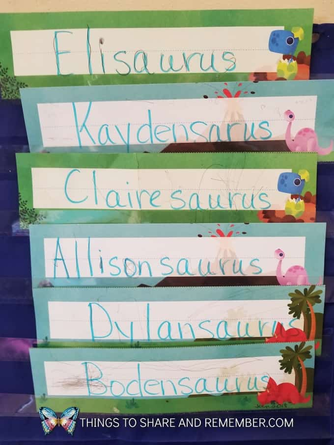 dinosaur names Mother Goose Time name tags