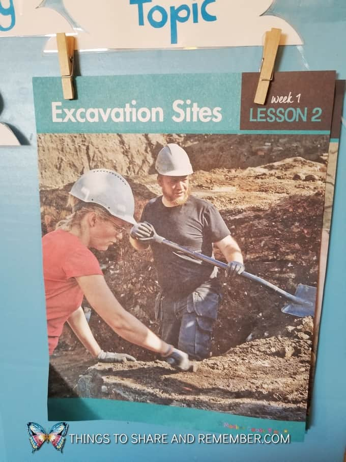 excavation sites daily topic poster from Mother Goose Time