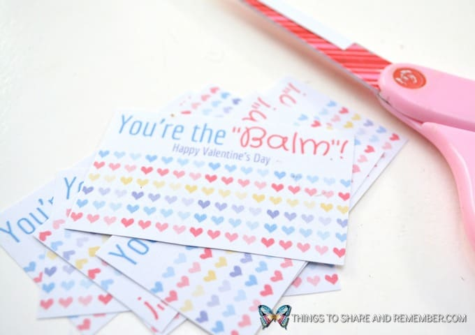 cut apart the printable valentines