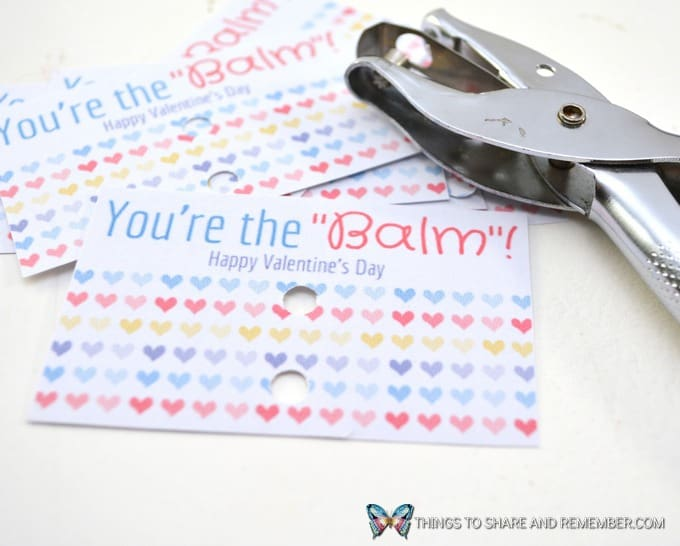 how to punch two holes in the valentine card