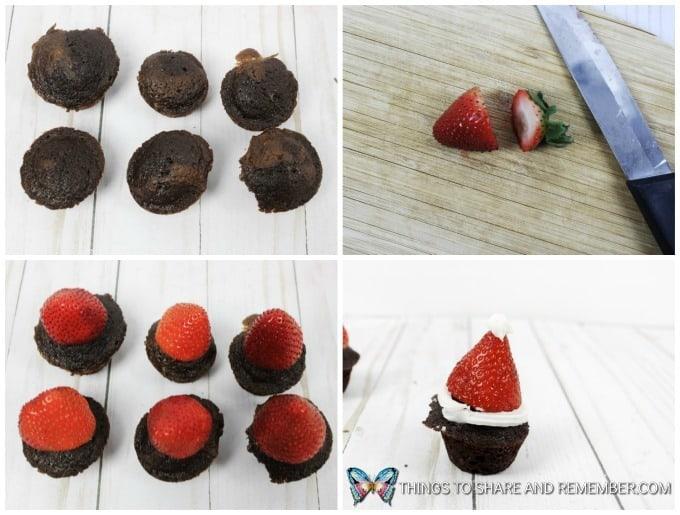 Mini Strawberry Santa Hat Brownie Bites in process
