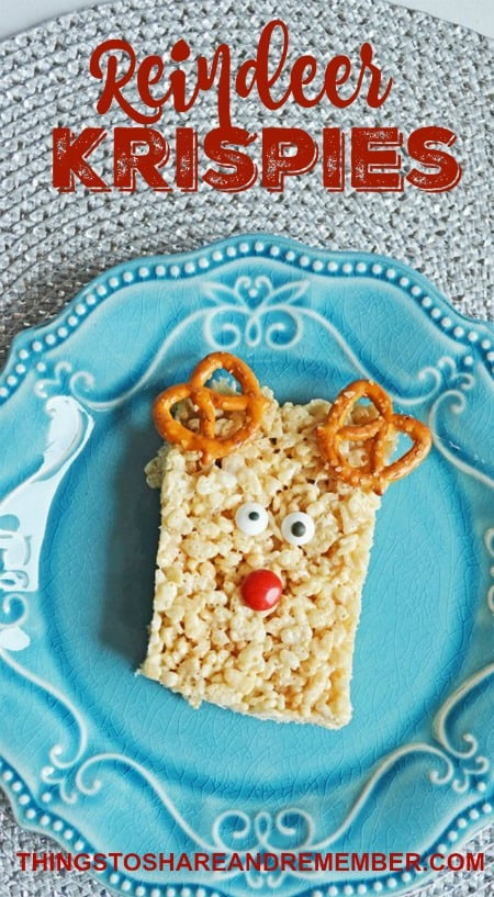 Simple decorations make a plain Rice Krispy bar into a cute reindeer treat for Christmas.