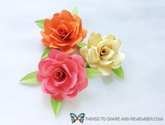3 paper roses