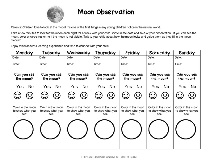 Moon observation form for preschoolers family engagement space theme