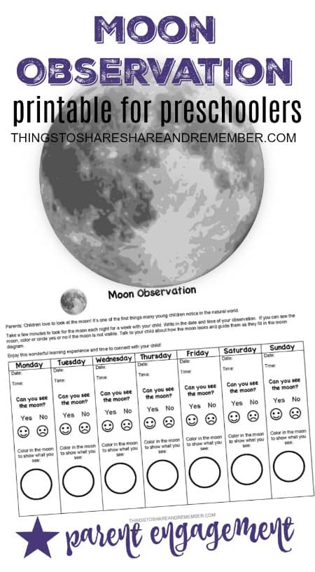 image regarding Moon Printable called Have interaction Households with a Moon Observation Printable for
