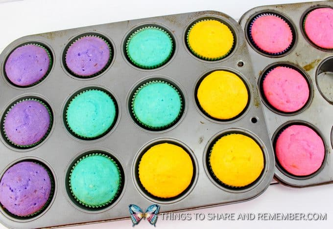 colorful cupcakes in a pan