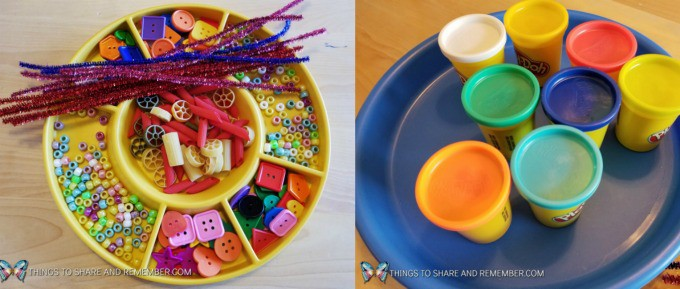 Ocean themed STEAM Station from Mother Goose Time - Coral play dough creations