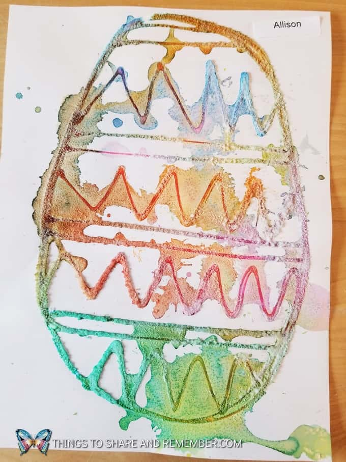 Salt Painting Easter Egg Art