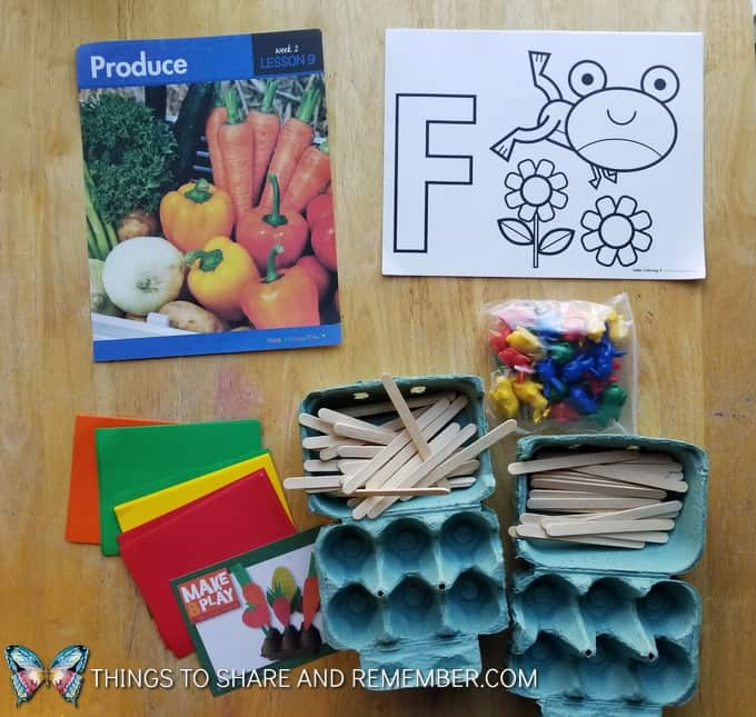 What's in the Box? Growing Gardens Preschool Theme produce letter F
