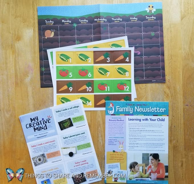 What's in the Box? Growing Gardens Preschool Theme calendar