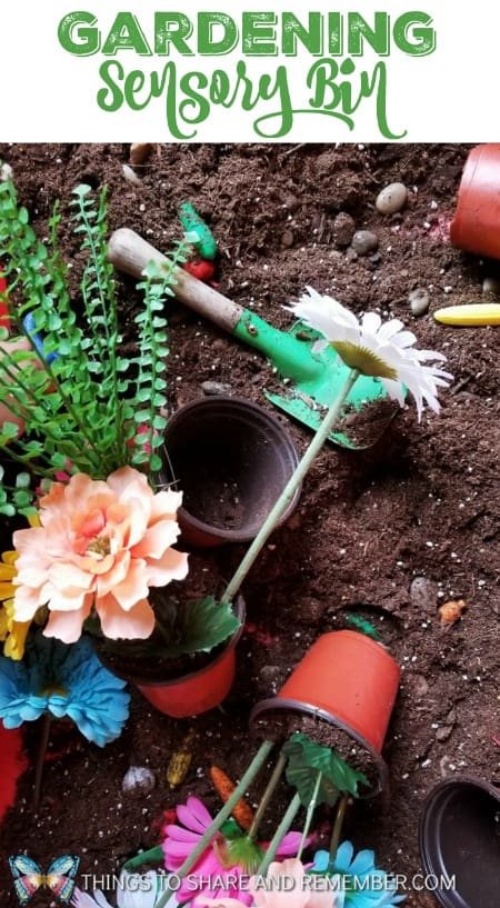 Gardening Sensory Bin play idea for preschool spring gardening theme