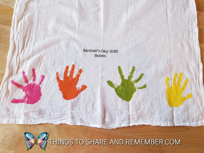 Keepsake Mother's Day Handprint Dish Towels child made Mother's Day Gift