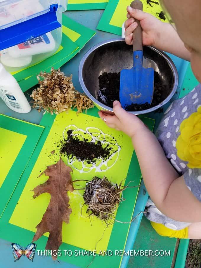 child making soil collage art