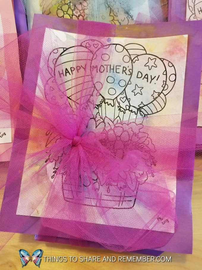 Keepsake Mother's Day Handprint Dish Towels and watercolor painted cards wrapped with tulle