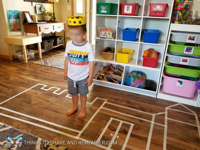 masking tape castle on the floor