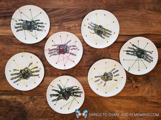 Handprint Spiders & Paper Plate Webs