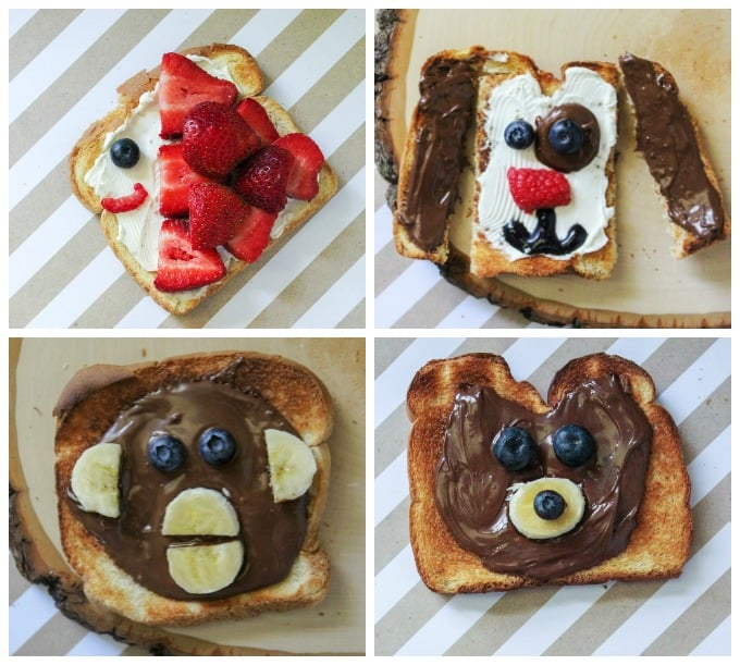 4 kinds of animal toast Snacks for Kids with Printable Directions