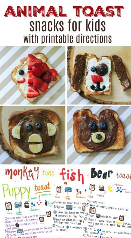 Animal Toast Snacks for Kids with Printable Directions