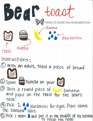 Bear Toast Animal Toast Snacks for Kids with Printable Directions