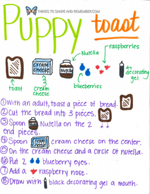 Puppy toast Animal Toast Snacks for Kids with Printable Directions