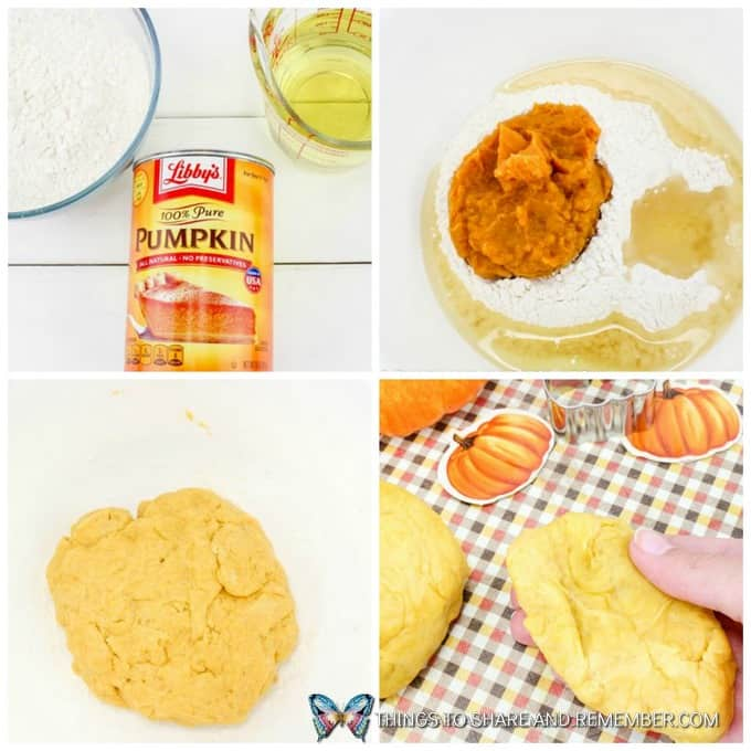 how to make process photos of Super Soft Pumpkin Play Dough Recipe for Fall Sensory Centers in Preschool