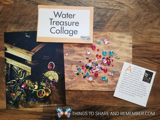 water treasure collage materials from Mother Goose Time Gems and Jewels Sensory and Sorting Play Activities Preschool Activities