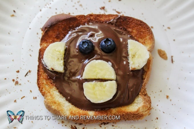 monkey toast make with nutella Animal Toast Snacks for Kids with Printable Directions