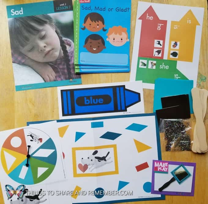 Sad preschool feelings theme materials from Mother Goose Time, sight words, I Can Read book, color blue, craft supplies and shape game