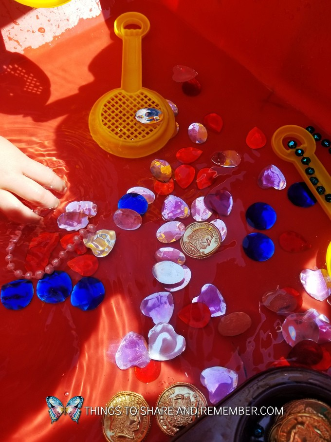 water table idea for pirate theme or Gems and Jewels Sensory and Sorting Play Activities Preschool Activities