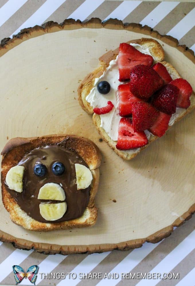 fish toast and monkey toast Animal Toast Snacks for Kids with Printable Directions