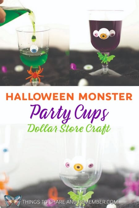 Simple dollar store craft for Halloween Monster Party Cups Dollar store plastic wine cups decorated with googly eyes and plastic spider rings for child or adult Halloween parties