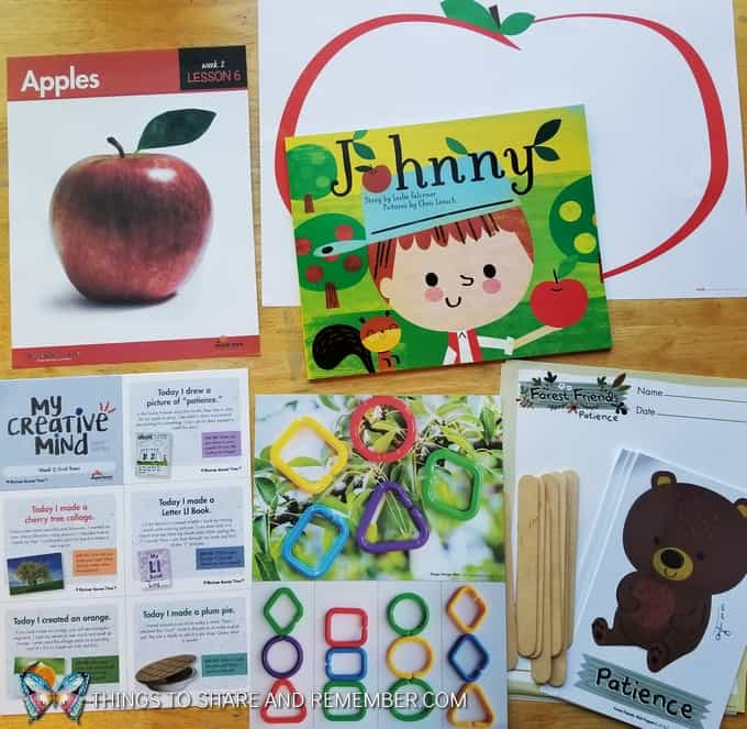 Lesson 6 Mother Goose Time Preschool Curriculum Orchard Harvest fall theme Apples Johnny Appleseed and Forest Friends Character Development Patience bear concept for preschoolers
