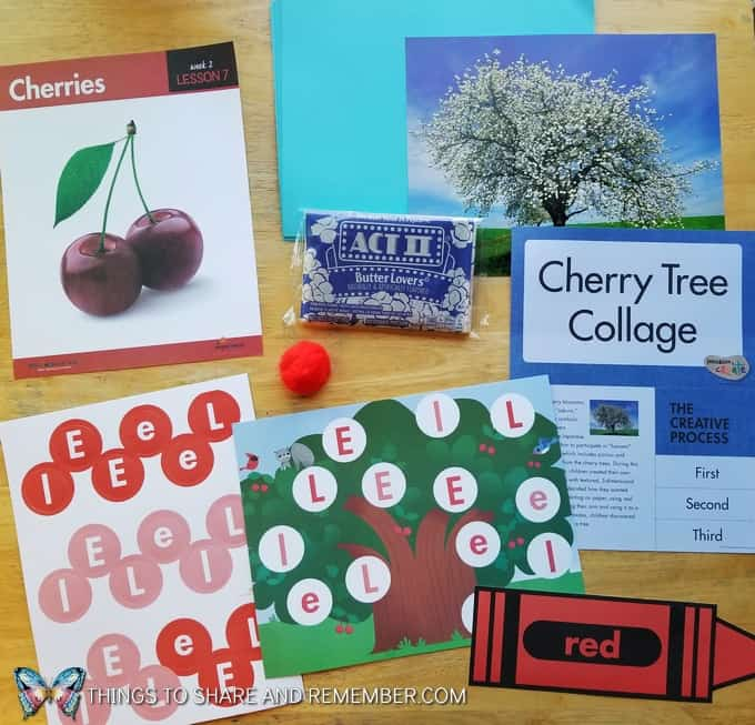 Lesson 7 Mother Goose Time Preschool Curriculum Orchard Harvest fall theme Cherries Cherry Tree collage with popcorn learning about color red