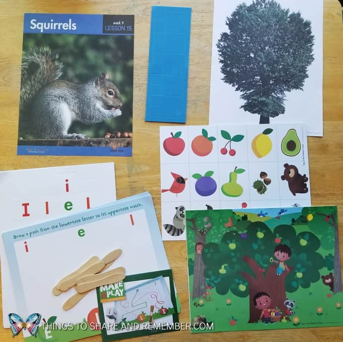 Lesson 15 Mother Goose Time Preschool Curriculum Orchard Harvest fall theme Squirrels and trees