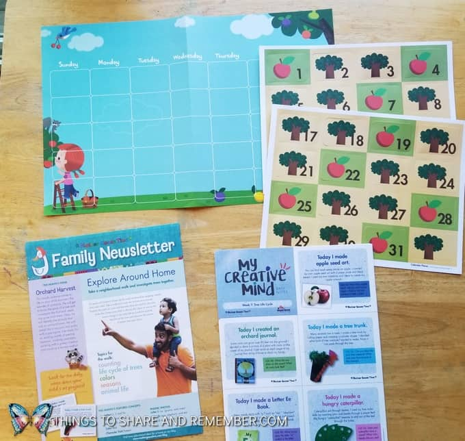 Mother Goose Time Orchard Harvest calendar, Family Newsletter and My Creative Mind sheets for parents