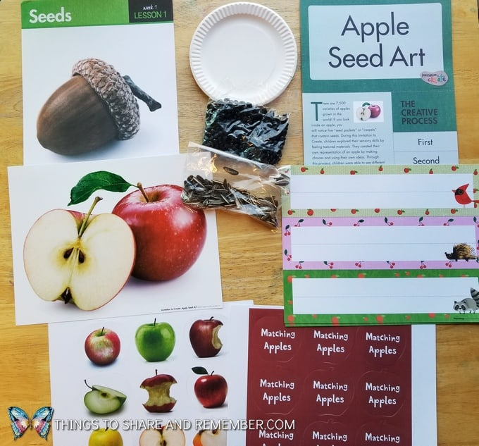 Lesson 1 Mother Goose Time Preschool Curriculum Orchard Harvest fall theme Seeds and apple seed art paper plate project, matching apples game