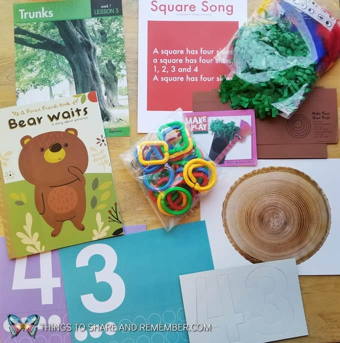 Lesson 3 Mother Goose Time Preschool Curriculum Orchard Harvest fall theme Tree Trunks, Square Song, numbers 3 & 4, and tree ring creative art for preschoolers