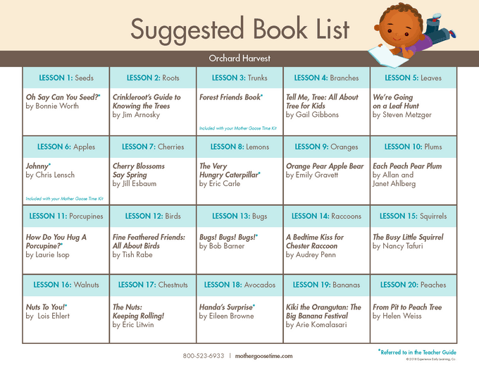 Mother Goose Time October Book list Fall Book list for Orchard Harvest fall preschool theme