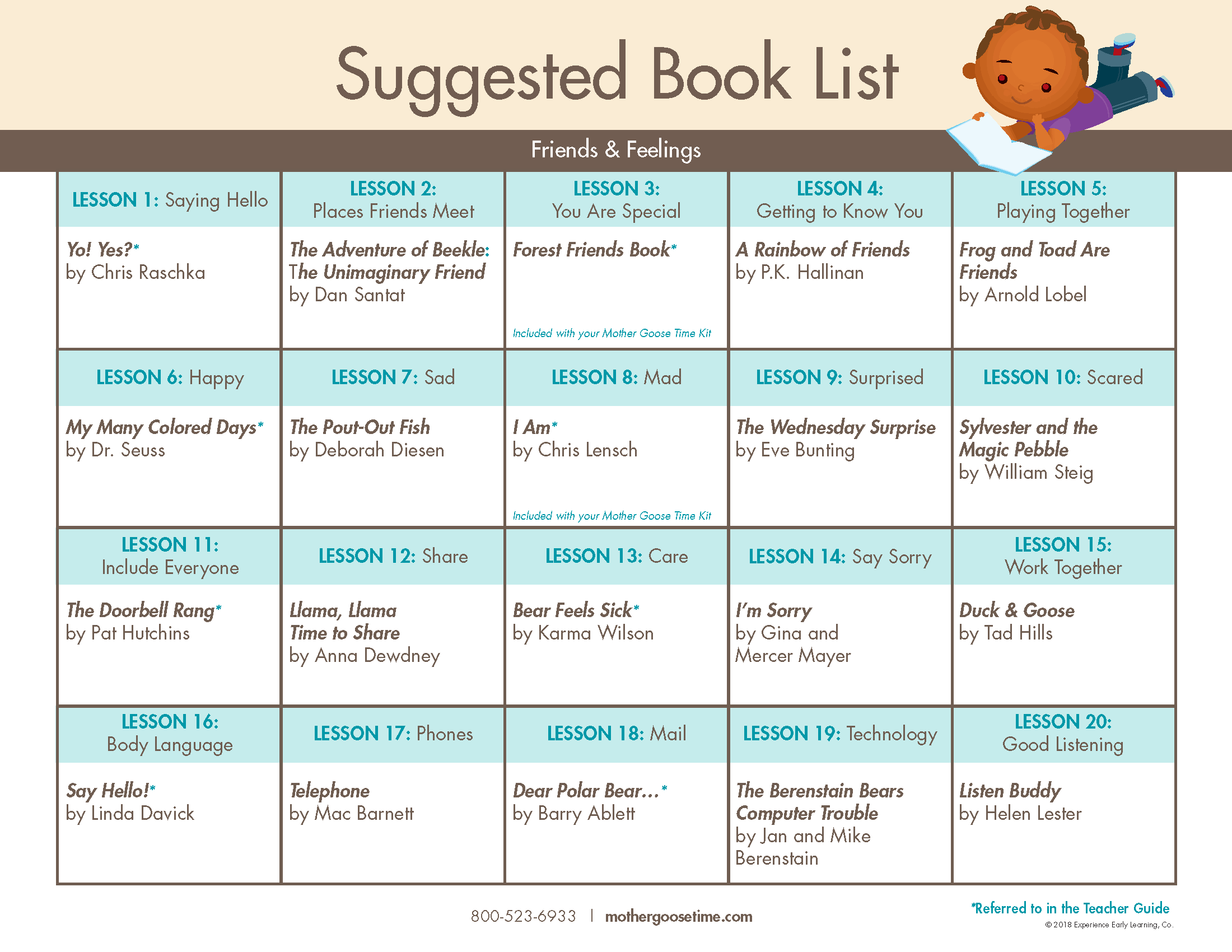 Suggested Book List from Mother Goose Time for Friends and Feelings